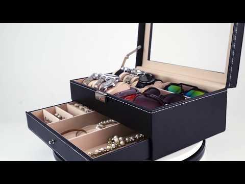 Multifunktionale Schmuckkoffer & Uhrenbox aus Leder