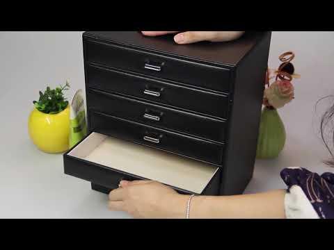 6 Schubladen Schmuckkoffer in schwarz und weiß