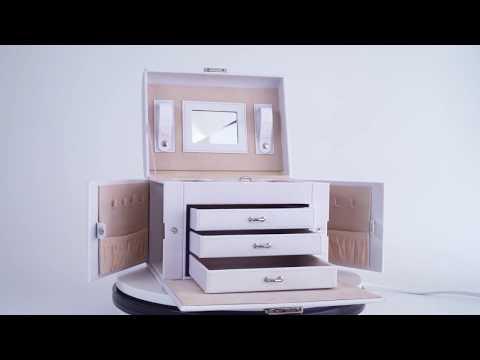 Leder Schmuckkoffer mit Spiegel in schwarz und weiß