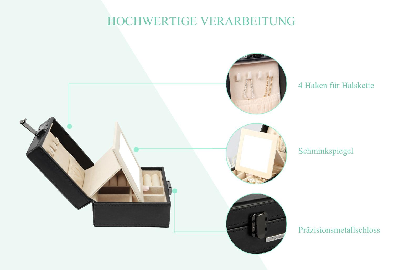 Mit einem Präzisionsmetallschloss ist es perfekt in die Schmuckschatulle integriert, um die stilvolle Eleganz zu zeigen.